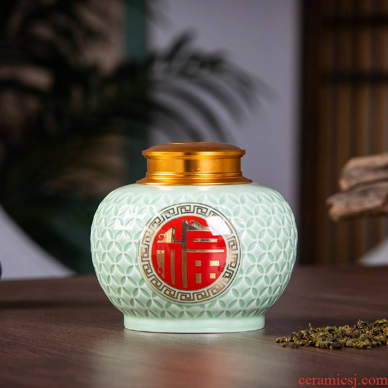 Jingdezhen ceramics powder enamel caddy fixings puer tea pot Chinese style with the cover seal tank storage tank tea