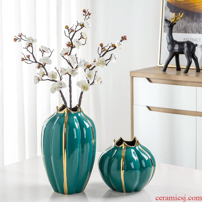 Light European - style key-2 luxury furnishing articles ceramic vase flower arranging dried flowers sitting room adornment the Nordic idea contracted water raise household decoration