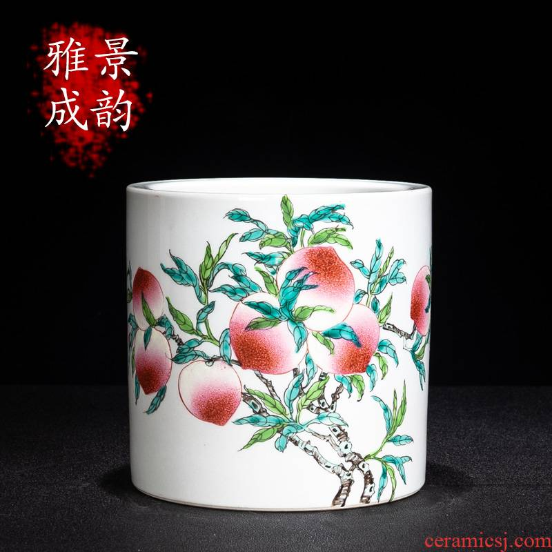 Jingdezhen ceramic sitting room wine peach porcelain ornaments furnishing articles office study of new Chinese style brush pot