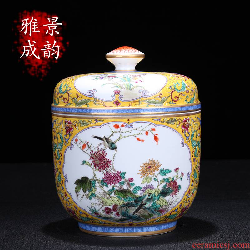 Jingdezhen ceramic colored enamel painting of flowers and furnishing articles sitting room sitting room adornment art creative Chinese style household ornaments