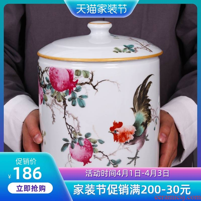 Jingdezhen ceramic household seal porcelain tea pot puer tea tin with large tea urn