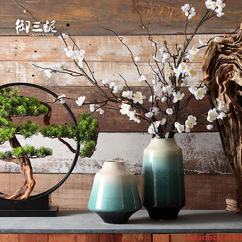 The New Chinese dried flower implement creative decoration zen Japanese ceramic vase furnishing articles ornaments living room TV cabinet