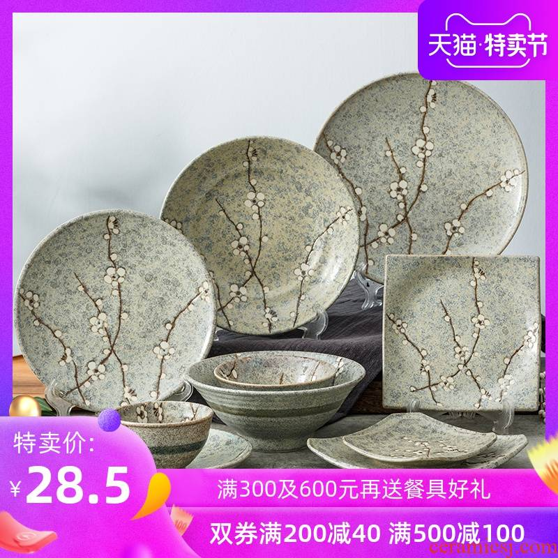 Japan imports salted and dried name plum retro quadrate dish plate round ceramic bowl of Japanese plate under the glaze color home dishes