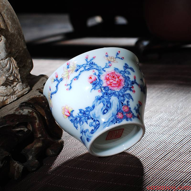 The Owl up jingdezhen blue and white colored enamel peony cup fighting kung fu tea masters cup tea cup