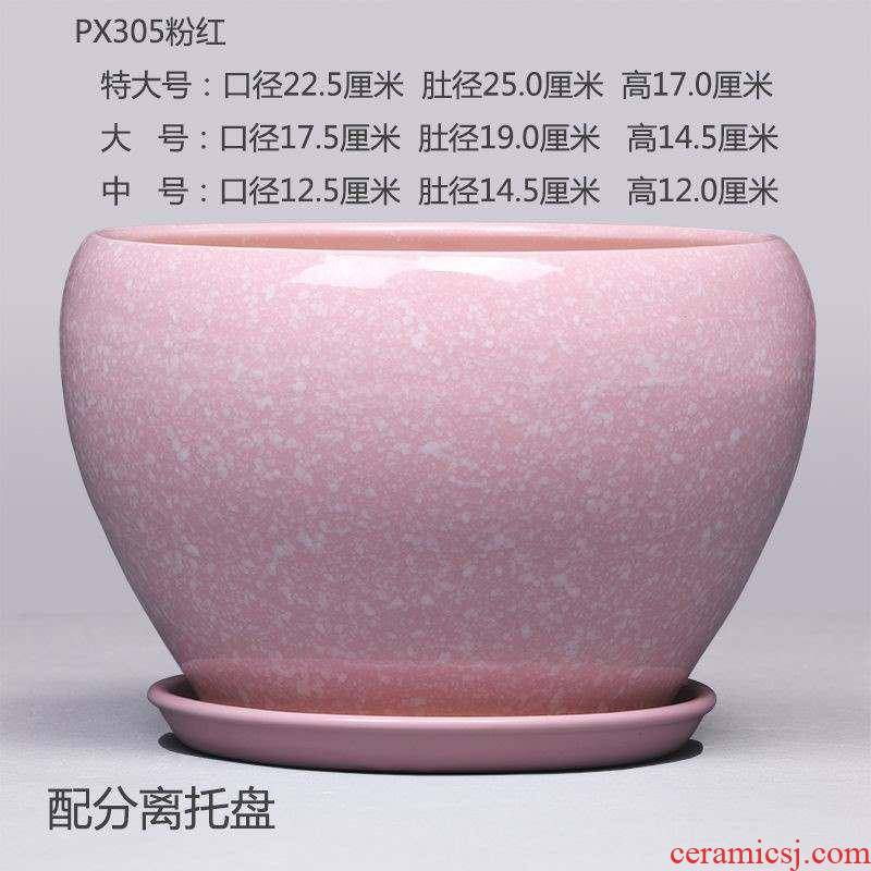 Lily oval Chinese rose oversized special ceramic flowerpot more meat clearance outside European super - large diameter