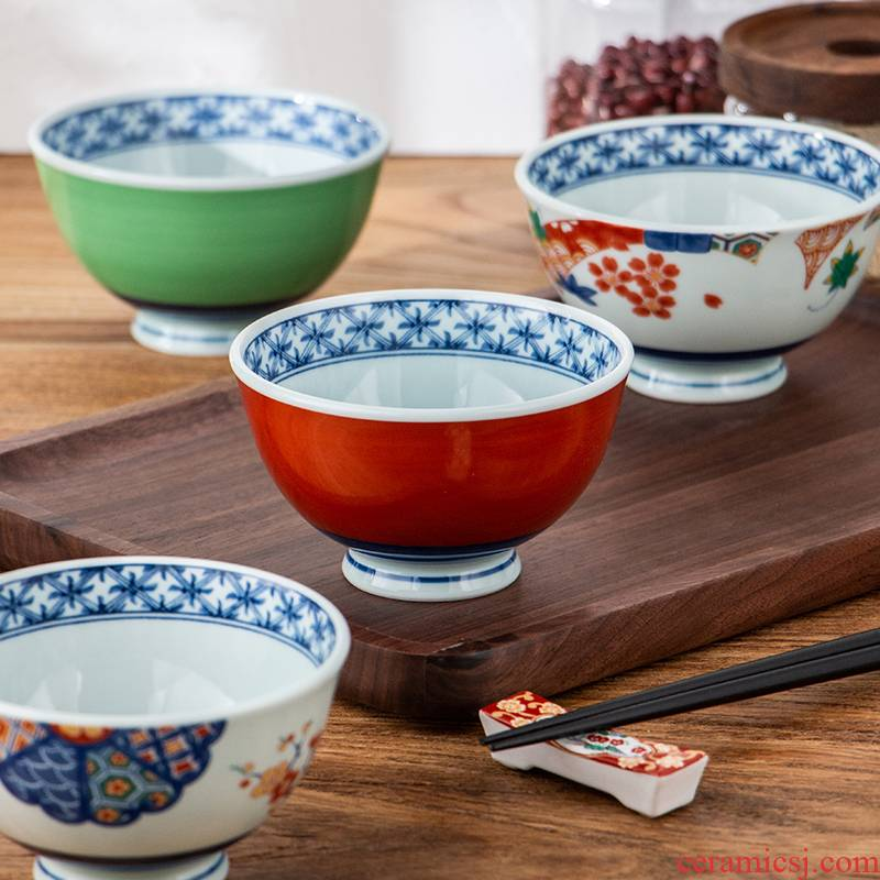 Japan imports creative household ceramics high always prevent hot hat little rainbow such as bowl hand - made rice bowls Japanese snack bowl