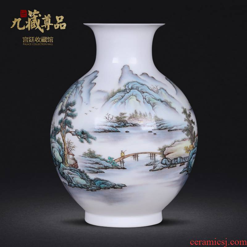 The Master of jingdezhen ceramics hand - made scenery vase furnishing articles flower arranging home wine sitting room decoration