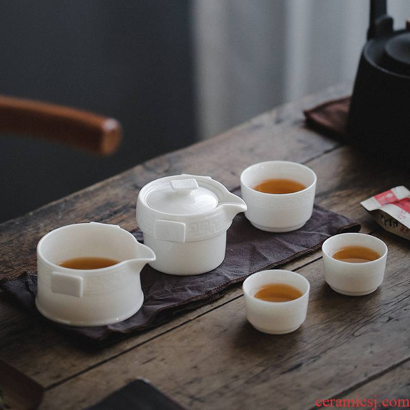 Travel porcelain heng tong kung fu tea set to crack a pot of three cups of is suing contracted portable bag white porcelain teapot