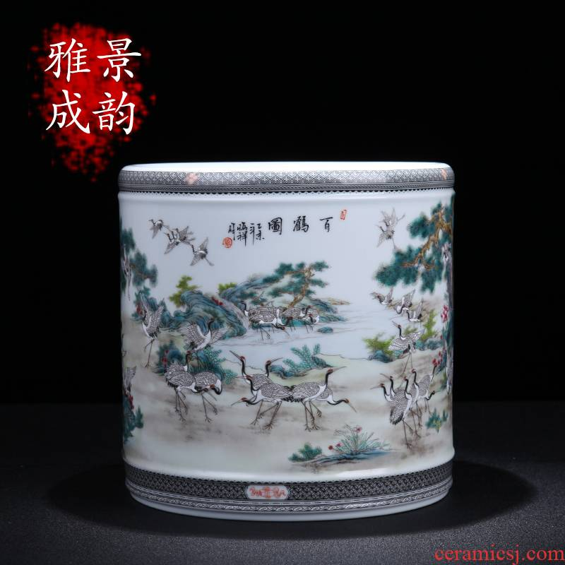Jingdezhen ceramic I and contracted hand - made the crane figure big brush pot home sitting room porch porcelain decorative furnishing articles