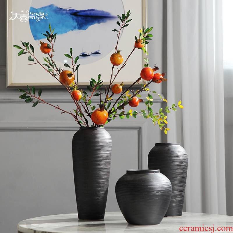 Jingdezhen ceramic vases, new Chinese style table furnishing articles simulation flower arranging dried flowers sitting room TV ark, home decoration