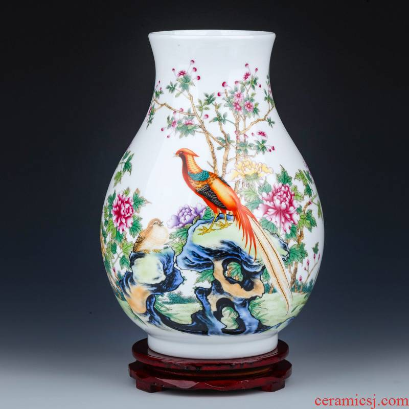 Jingdezhen ceramics powder enamel vase flower arranging wide expressions using rich ancient frame of Chinese style household, sitting room porch decoration furnishing articles