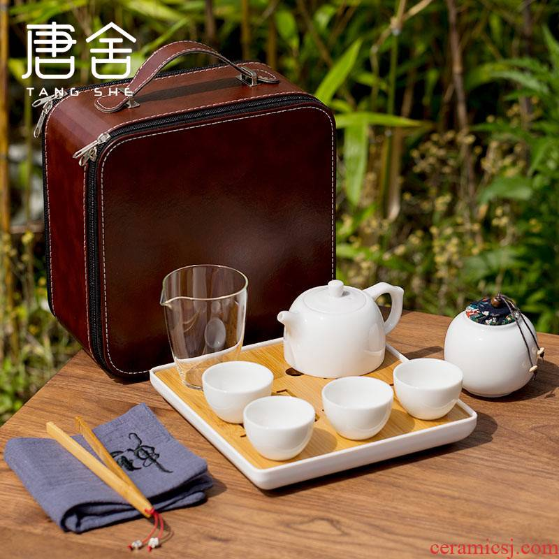 Tang's white porcelain contracted travel tea set suit portable kung fu tea caddy fixings tea tray glass cup home