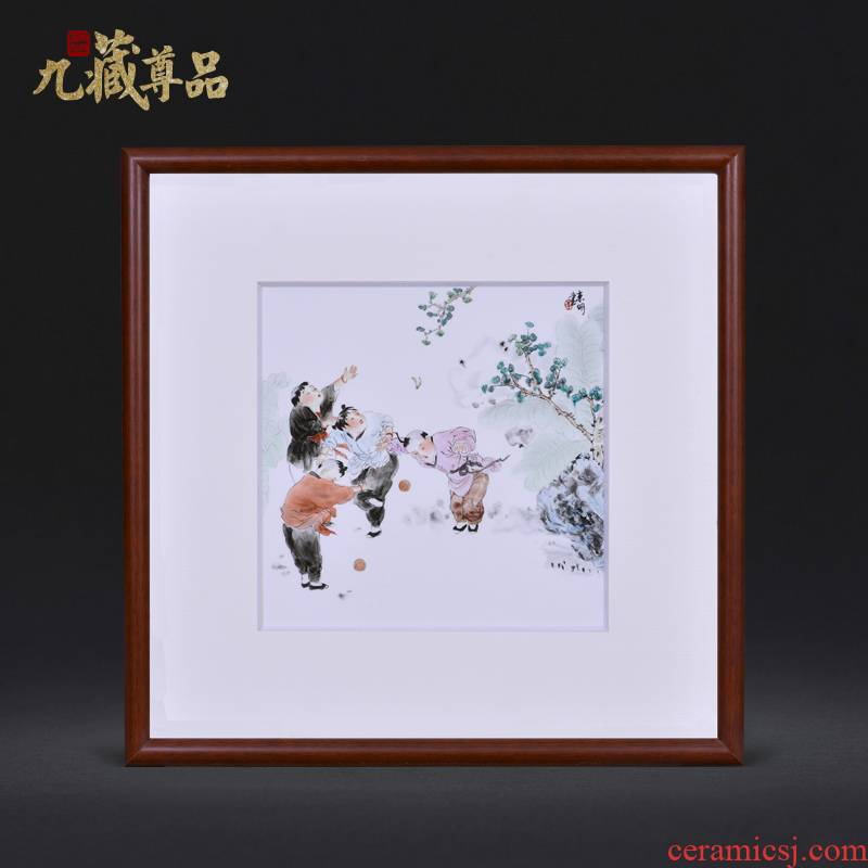 Jingdezhen ceramics dong - Ming li hand - made lad figure Chinese style household crafts decoration porcelain plate painting