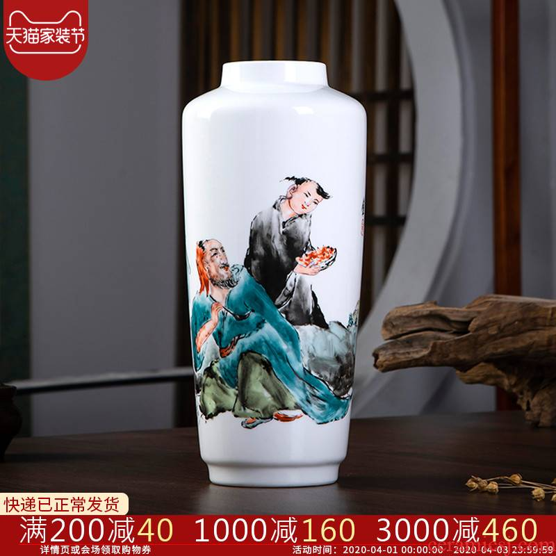 Jingdezhen ceramics furnishing articles hand - made pastel lad vases, flower arranging Chinese style household adornment rich ancient frame in the living room