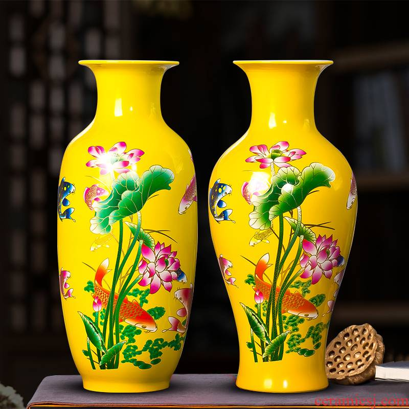 Jingdezhen ceramics titian lucky bamboo vase furnishing articles household act the role ofing is tasted I sitting room flower arranging the lily flowers