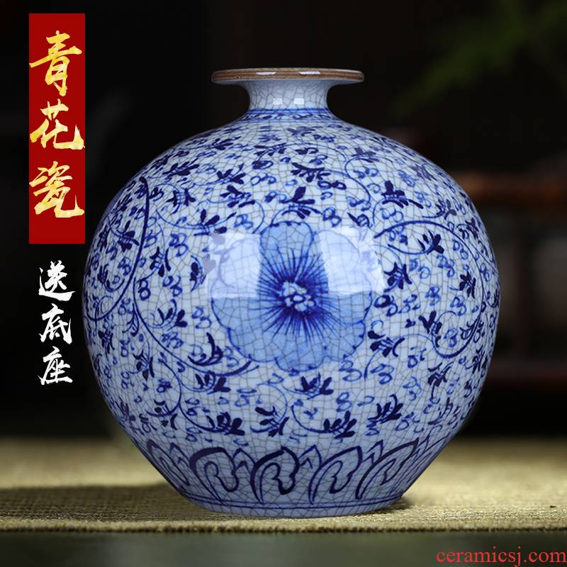 Antique blue and white porcelain vase, jingdezhen ceramic furnishing articles classical Chinese wind restoring ancient ways the sitting room do old pomegranate bottle arranging flowers