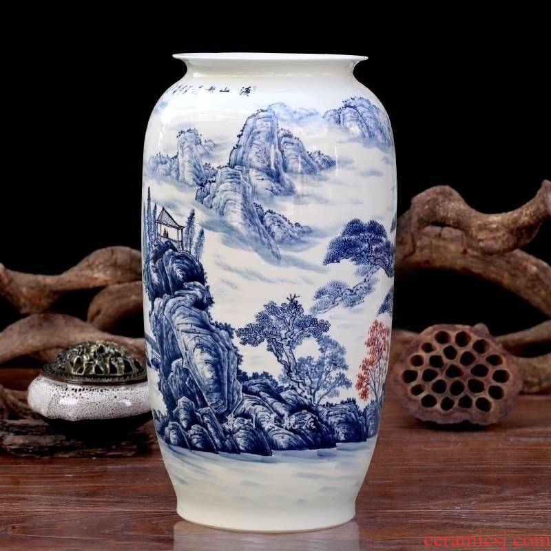 Jingdezhen ceramics hand - made guest - the greeting pine idea gourd bottle of painting and calligraphy sitting room adornment of large vase furnishing articles
