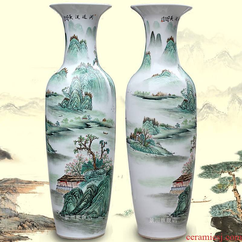 The sitting room of large vase hand - made landscape painting porcelain jingdezhen ceramics decoration large flower arranging porcelain furnishing articles