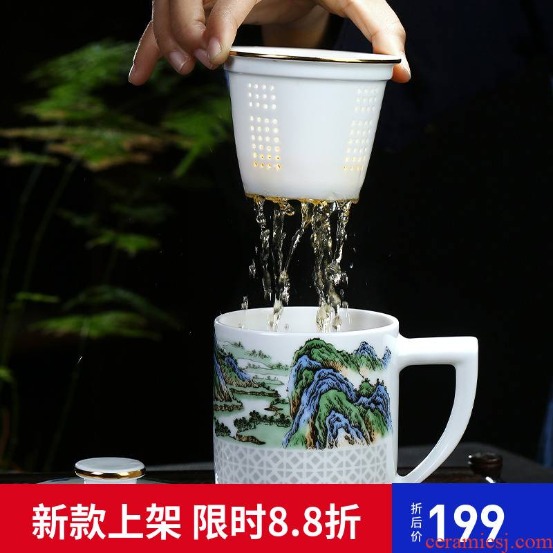 Jingdezhen hand made and exquisite creative ceramic cup with cover the tank filter cups office home large capacity of Chinese style