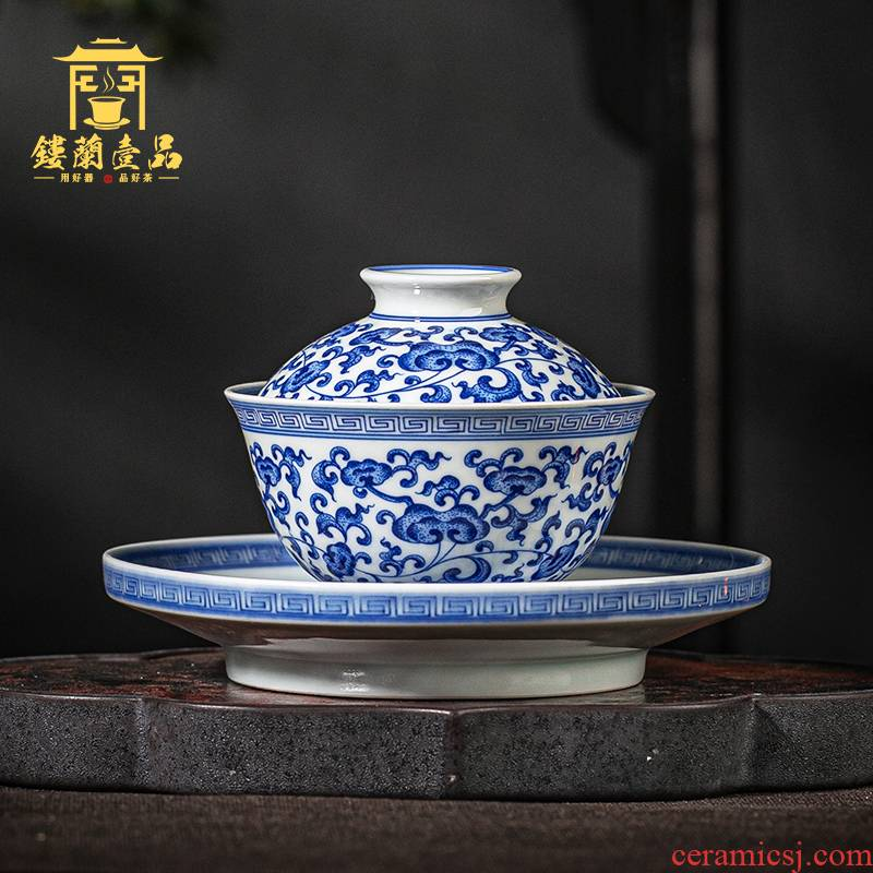 Jingdezhen ceramic blue and white tie up within the lotus flower sweet hand - made all three tureen kung fu tea tureen large bowl