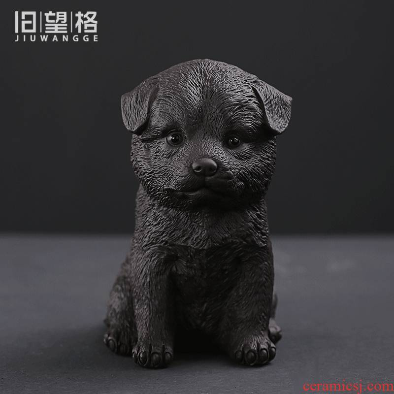 Shadow enjoy purple sand tea pet prosperous wealth lovable puppy play tea tea tray manually tea accessories office home furnishing articles JW