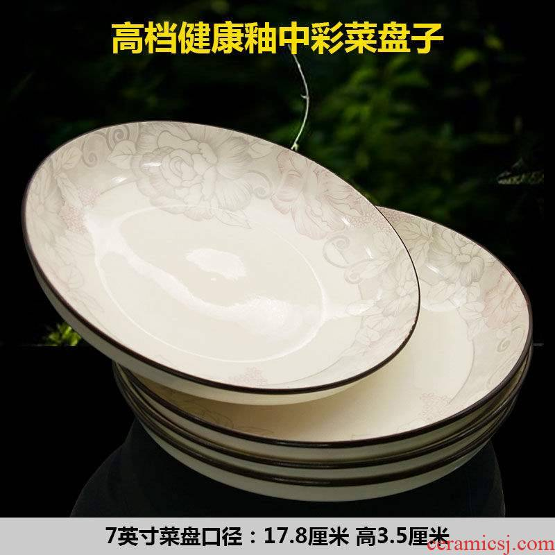 Dish Dish Dish home 10 circular plate ceramic disc set tableware FanPan jingdezhen microwave