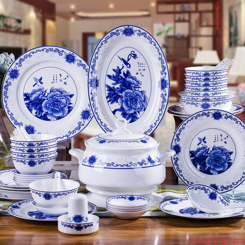 Jingdezhen blue and white porcelain tableware suit 58 skull bowls disc ceramic dishes suit household of Chinese style of high - grade housewarming