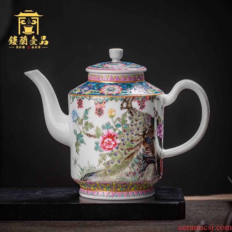 Jingdezhen ceramic all hand pastel peacock teapot ewer household utensils large tea to filter the teapot