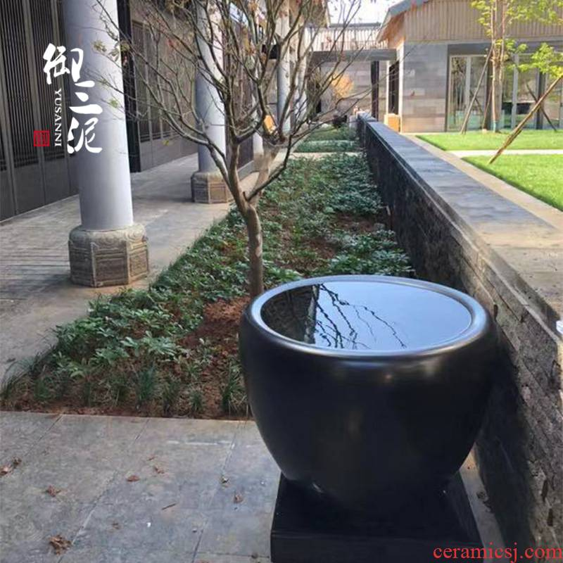 Jingdezhen ceramic modern big fish tank water lily tortoise cylinder large size extra large sitting room lotus goldfish bowl