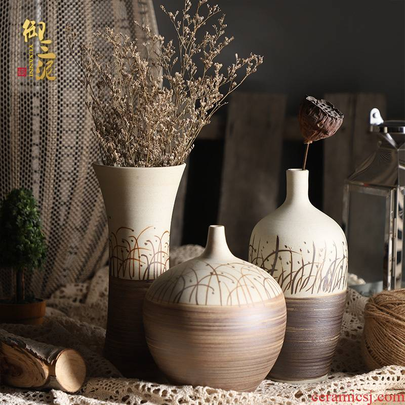 Retro ceramic dry flower, flower implement desktop flower arranging furnishing articles contracted sitting room of Chinese style table, TV ark, household floret bottle