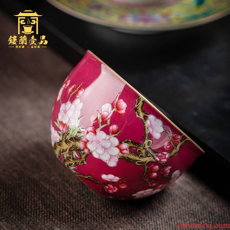 Carmine kung fu tea powder enamel name plum flower sample tea cup large master cup single CPU jingdezhen ceramic tea cup