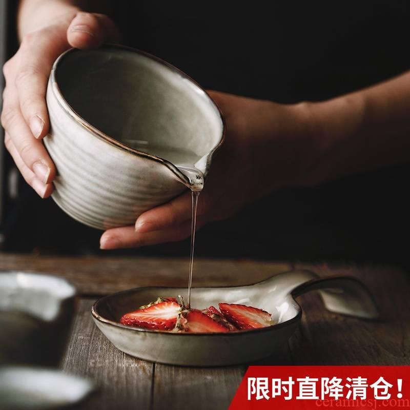 Lototo French ceramic creative retro sauce juice bowl bowl of breakfast bowl of household small milk pot dessert salad bowl bowl