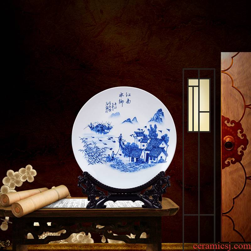 Blue and white porcelain of jingdezhen ceramics landscape painting decorative furnishing articles household decoration of Chinese style living room rich ancient frame plate