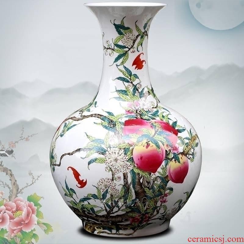 Jingdezhen ceramic peach figure dried flower flower vase household living room a study table desktop medium place adorn article