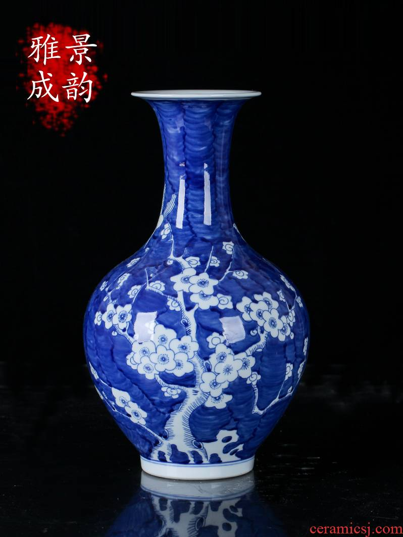 The New Chinese blue and white porcelain of jingdezhen ceramic flower arranging ice name plum bottle decoration place to live in the sitting room porcelain arts and crafts