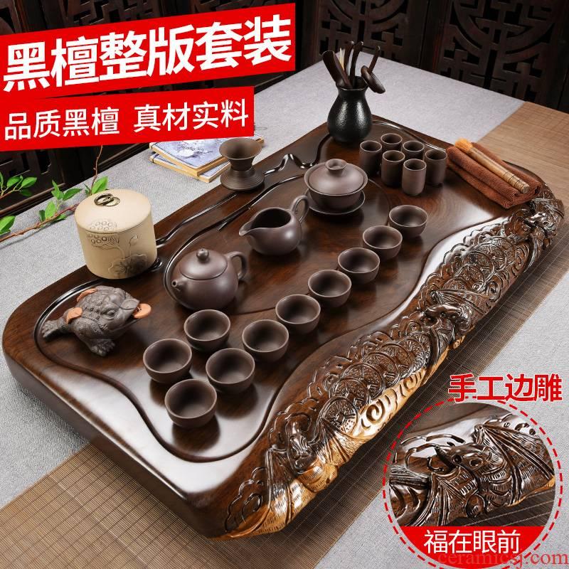 Beauty cabinet whole ebony hand - carved tea sets tea tray was solid wood tea tea tea purple ceramic teapot