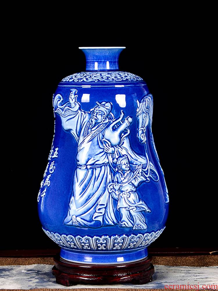 Jingdezhen ceramics hand carved vase li bai will be Chinese style porch decoration crafts are sitting room into the wine