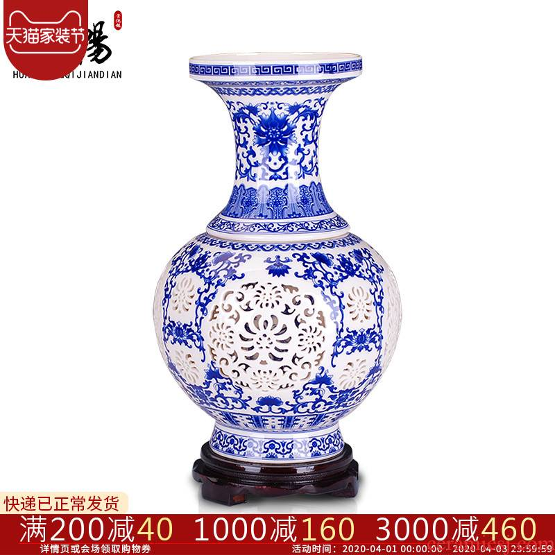 Jingdezhen ceramics hollow out of the blue and white porcelain vases, flower arrangement modern furnishing articles aj60 sitting room of Chinese style household decorations