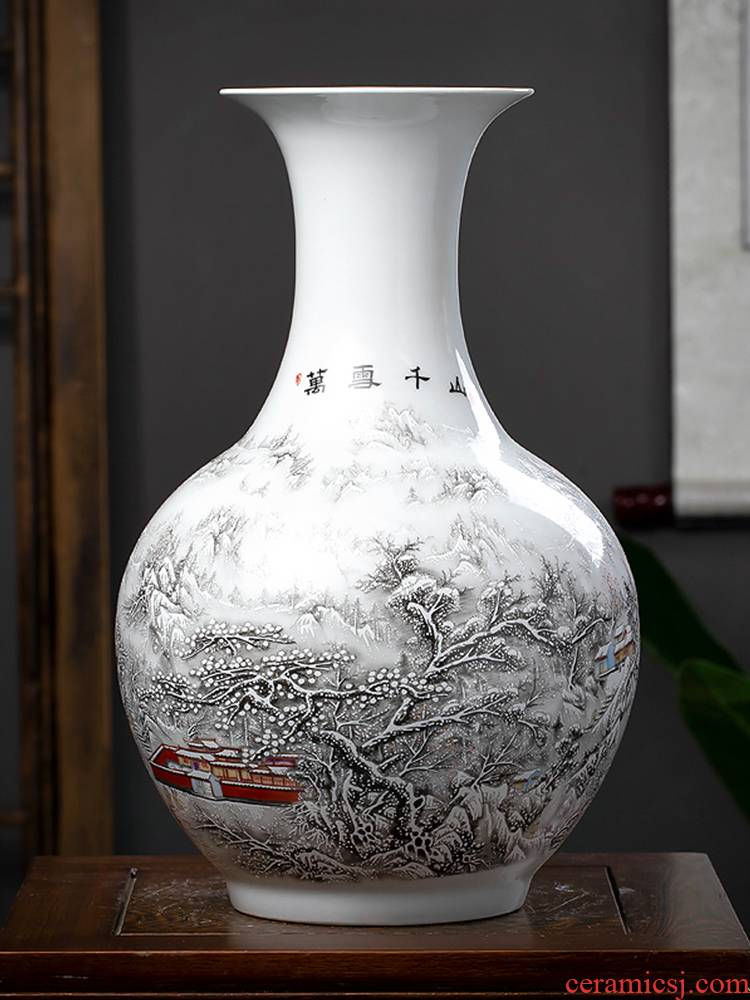 Jingdezhen ceramics vase snow large vases, flower arranging new sitting room of Chinese style household act the role ofing is tasted TV ark, furnishing articles