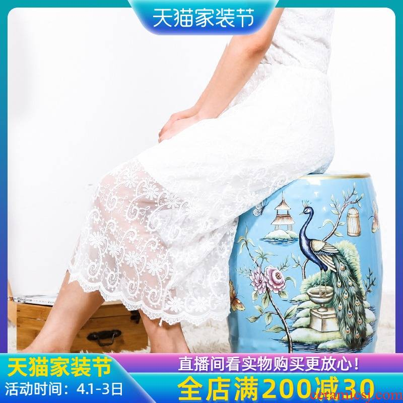 Modern Chinese rural wind ceramic drum who dressing change shoe who pier embroidered pier decorated living room furniture furnishing articles