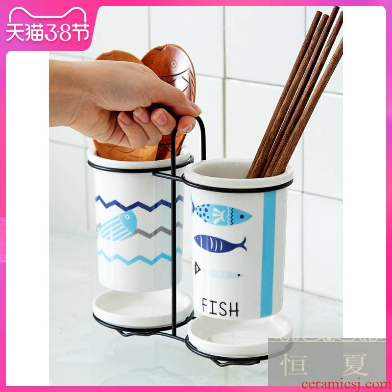 Shelf multi - function chopsticks basket informs the ceramic tube of waterlogging under caused by excessive rainfall chopsticks spoons chopsticks cage receive a case