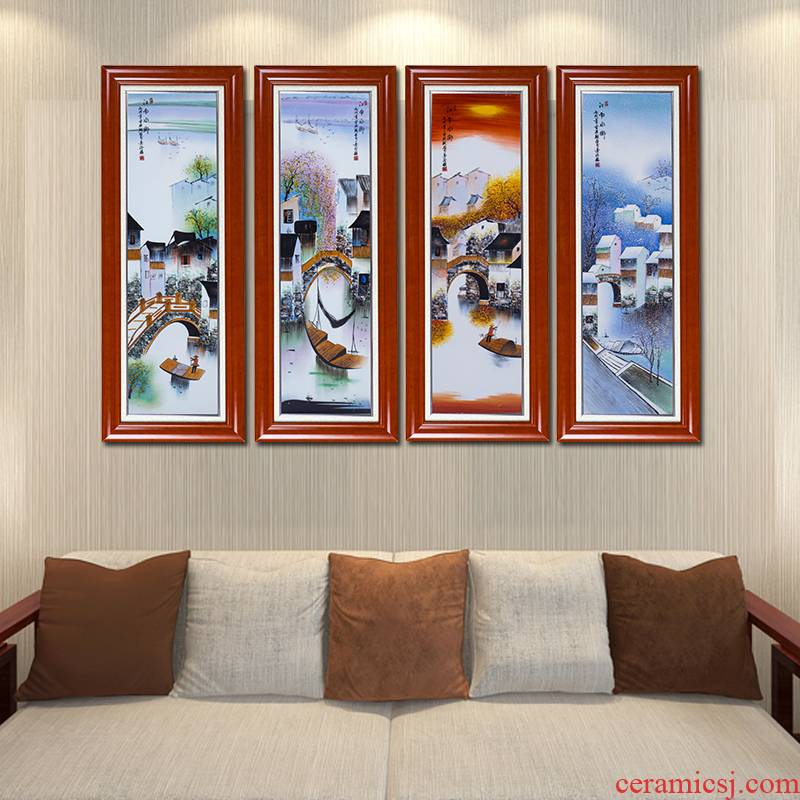 Chinese painting wind quadruple hand - made jiangnan porcelain plate paintings of Chinese style living room sofa setting wall adornment that hang a picture