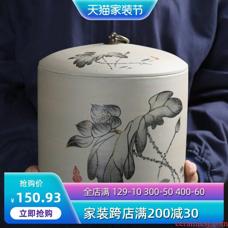 Are young ceramic bread seven pu 'er tea box wake receives coarse pottery large tea tea tea urn storehouse box of tins