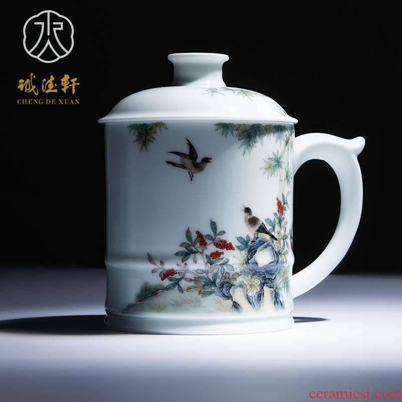 Cheng DE hin jingdezhen ceramic tea set, high - grade pure hand draw pastel 21 spring yan to cups & middot; think