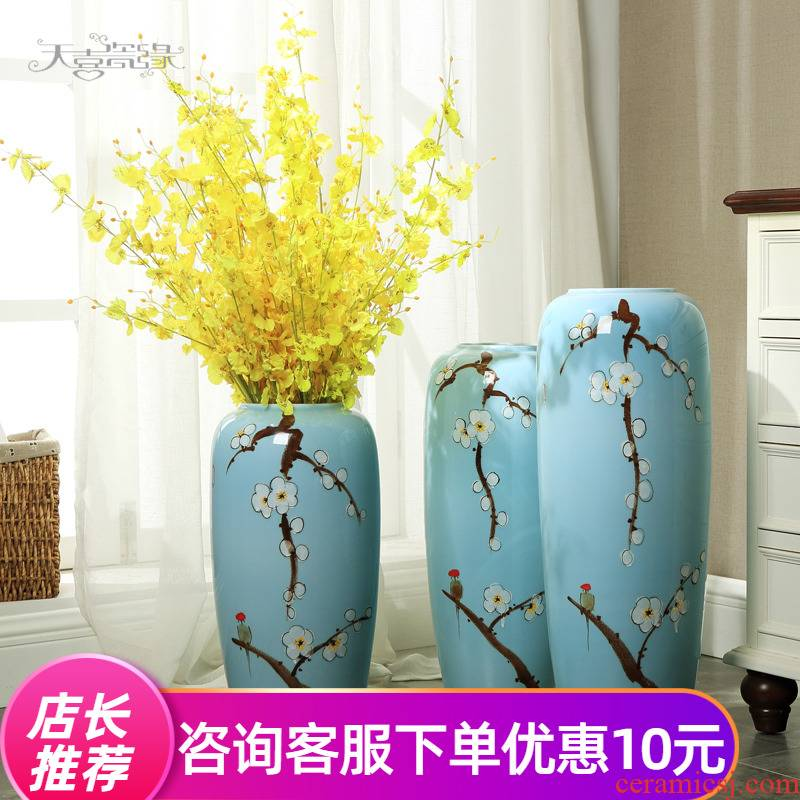 The Modern new Chinese be born large living room TV cabinet ceramic vase home furnishing articles furnishing articles hotel Modern flower arrangement