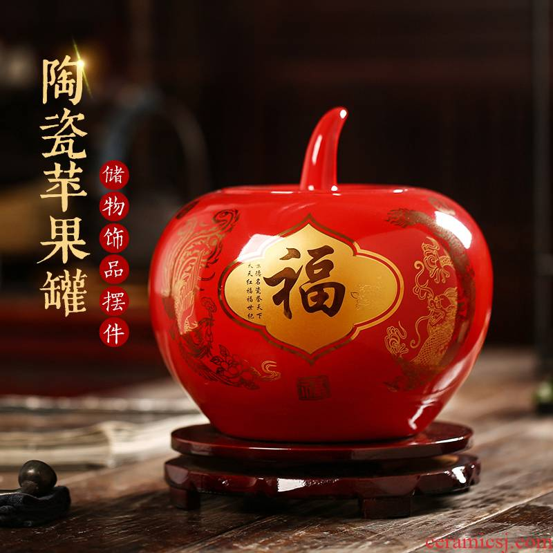 Jingdezhen ceramic POTS China red peony wedding gift sitting room adornment storage tank porcelain red apple furnishing articles