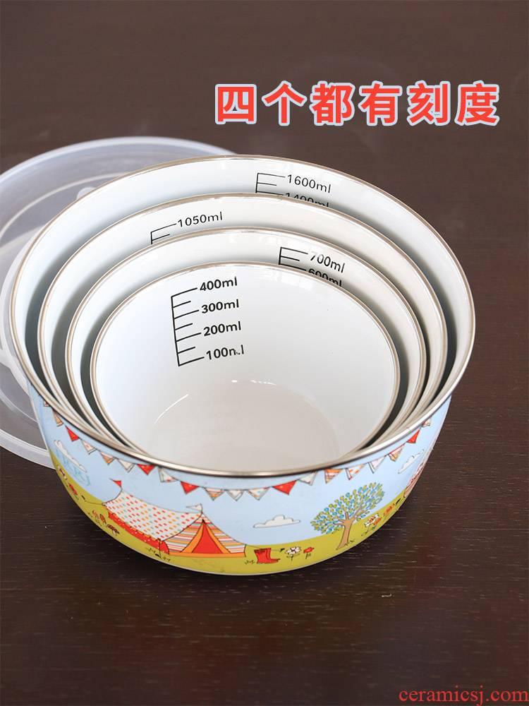 The Children 's cartoon fall belt scale eat bowl thicken enamel baby not widely milk scale always suit with a lid