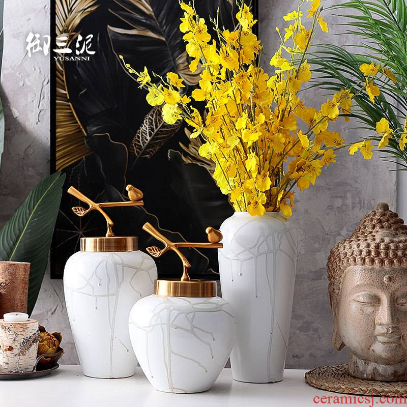 The Nordic adornment household metal cover jewelry flower implement ceramic vases, flower arranging furnishing articles American I and contracted sitting room