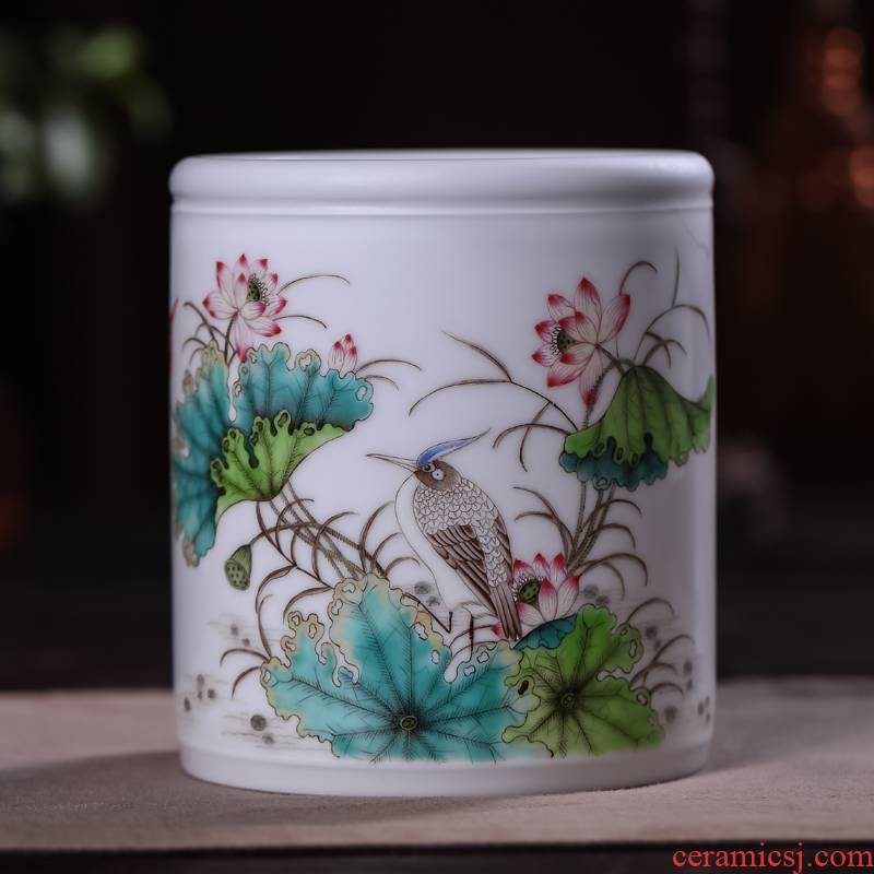 Offered home - cooked in jingdezhen porcelain stationery hand - made famille rose porcelain vase four furnishing articles checking jewelry ornaments