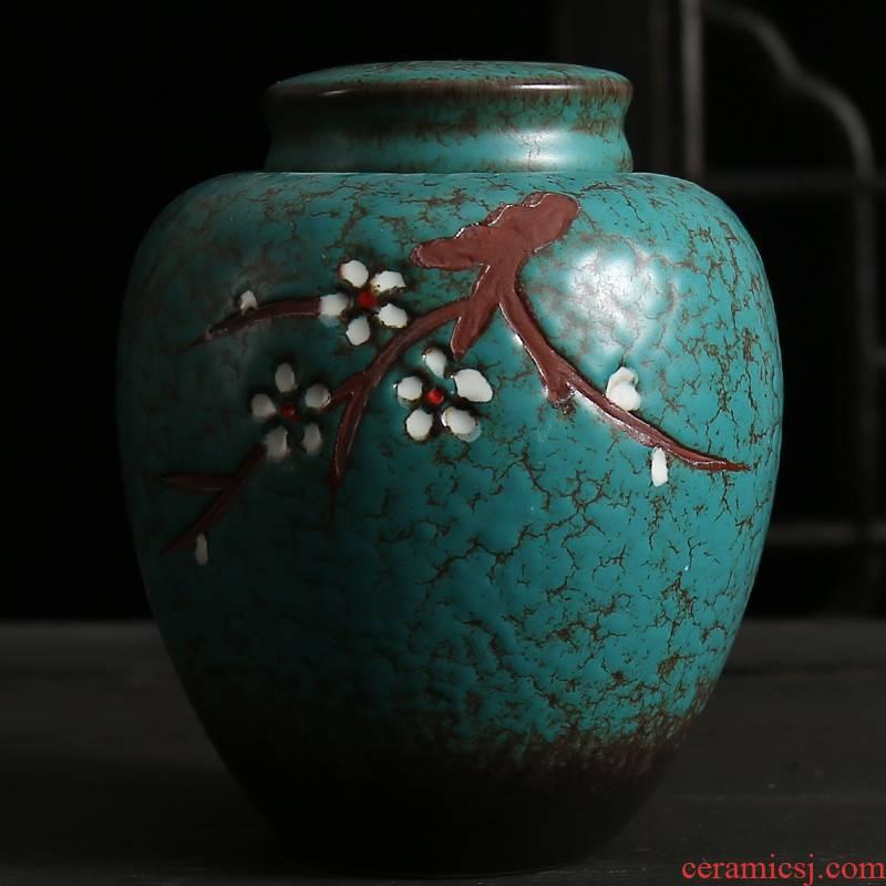 Small household ceramics caddy fixings large seal pot black tea storage tank hand - made coarse pottery jar custom restoring ancient ways